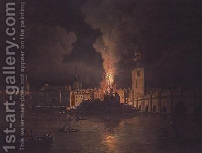 The Waterworks at London Bridge on Fire 1779 by William Marlow - Reproduction Oil Painting