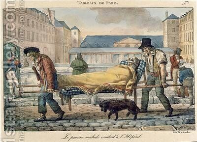 An invalid being carried to the hospital from the Tableaux de Paris series 1820 by Jean Henri Marlet - Reproduction Oil Painting