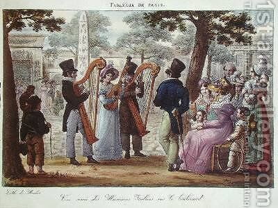 Italian Musicians Performing on a Boulevard in Paris by Jean Henri Marlet - Reproduction Oil Painting