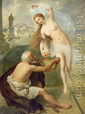 Fortuna and Beggar 1836 by Alexei Tarasovich Markov - Reproduction Oil Painting