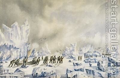 The farthest point north reached by the British Arctic Expedition led by Sir George Stronge Nares in 1875-76 by Albert Hastings Markham - Reproduction Oil Painting