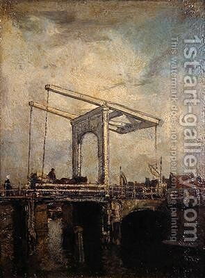 A Drawbridge in a Dutch Town 1875 by Jacob Henricus Maris - Reproduction Oil Painting