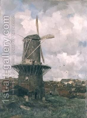 The Windmill by Jacob Henricus Maris - Reproduction Oil Painting