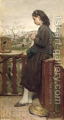 Girl knitting on the balcony Montmartre 1869 by Jacob Henricus Maris - Reproduction Oil Painting