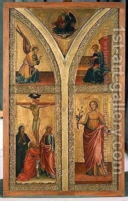 Altar wing depicting the Crucifixion St Dorothy and other saints 1420 by di Nardo Mariotto - Reproduction Oil Painting