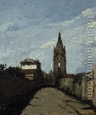 The Village Church 1866-70 by Antoine Fortune Marion - Reproduction Oil Painting