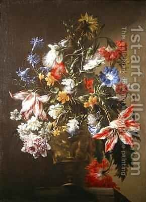 A Still Life of Flowers in a Vase by dei Fiori (Nuzzi) Mario - Reproduction Oil Painting