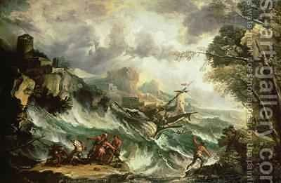Seascape with Shipwreck by Antonio Marini - Reproduction Oil Painting