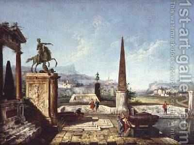 Capriccio of classical monuments obelisk with soldiers by a Pool and Mountains beyond by Michele Marieschi - Reproduction Oil Painting