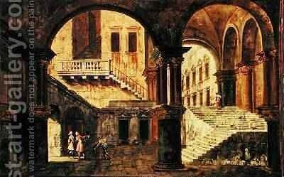 Staircase in a Palace by Michele Marieschi - Reproduction Oil Painting