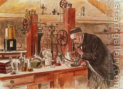 Louis Pasteur experimenting for the cure of hydrophobia in his laboratory 1885 by Adrien Emmanuel Marie - Reproduction Oil Painting