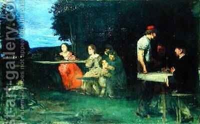 A Roman Scene 1871 by Hans von Marees - Reproduction Oil Painting