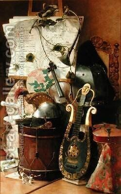 Still Life of Instruments 1889 by Elisa Marechalle - Reproduction Oil Painting