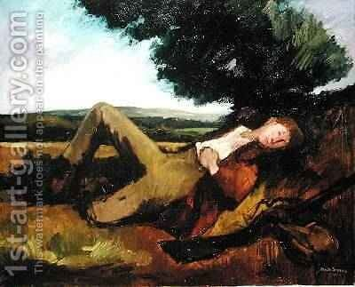 The Hunters Rest or The Sleeping Hunter 1929 by Andre Mare - Reproduction Oil Painting