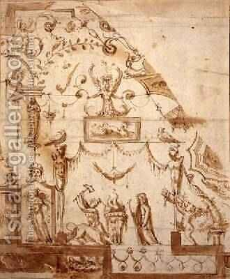 Design for a Grotesque Ceiling by (circle of) Marchetti, Marco (Marco da Faenza) - Reproduction Oil Painting