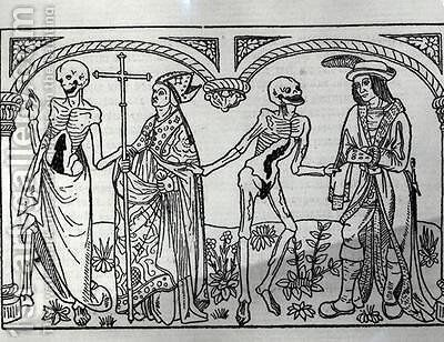 Death taking the Bishop and the Nobleman from the Danse Macabre by Guy Marchant - Reproduction Oil Painting