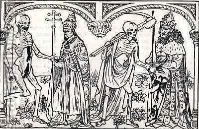 Death taking the Pope and the Emperor from the Danse Macabre by Guy Marchant - Reproduction Oil Painting