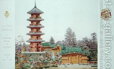 Japanese Tower in the Royal Park at Laeken Belgium 2 by (after) Marcel, Alexandre Auguste Louis - Reproduction Oil Painting