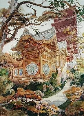 Japanese Tower and Chinese Pagoda in the Royal Park at Laeken Belgium by (after) Marcel, Alexandre Auguste Louis - Reproduction Oil Painting