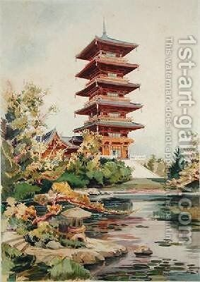 Japanese Tower in the Royal Park at Laeken Belgium 3 by (after) Marcel, Alexandre Auguste Louis - Reproduction Oil Painting