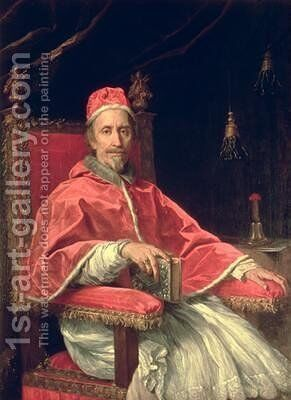 Portrait of Pope Clement IX 1600-69 by Carlo Maratta or Maratti - Reproduction Oil Painting