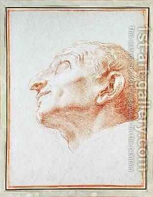 Study for the head of St Charles Borromeo by Carlo Maratta or Maratti - Reproduction Oil Painting