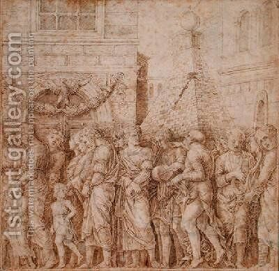 Study for the seventh canvas of the Triumph of Caesar by (after) Mantegna, Andrea - Reproduction Oil Painting