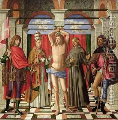 Saint Sebastian with Saints Liberale Gregory Francis and Roch by Giovanni di Niccolo Mansueti - Reproduction Oil Painting