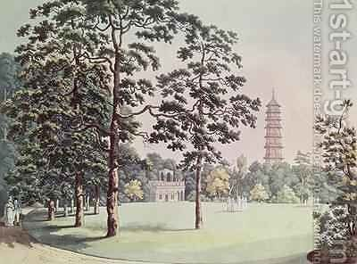 A View in Kew Gardens of the Alhambra and Pagoda by (after) Manskirch, Franz Joseph - Reproduction Oil Painting