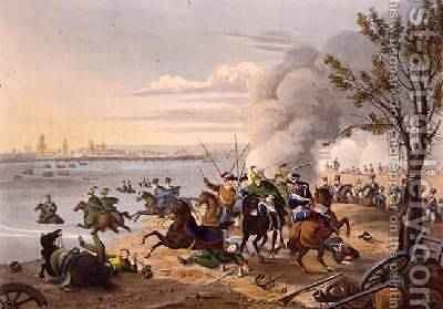 Napoleons Flight Across the Rhine near the City of Mentz Pursued by the Allies 1812 by (after) Manskirch, Franz Joseph - Reproduction Oil Painting
