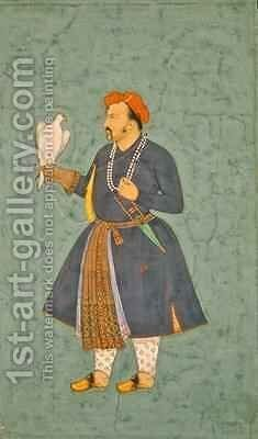 Portrait of Jahangir holding a Falcon 1600-10 by (attr. to) Manohar - Reproduction Oil Painting