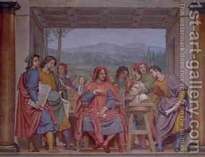 Lorenzo de Medici 1449-92 surrounded by artists by Giovanni Giovanni da San (Mannozzi) - Reproduction Oil Painting