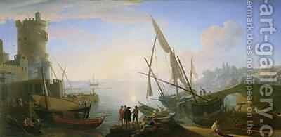 Seaport with sunset by Adrien Manglard - Reproduction Oil Painting