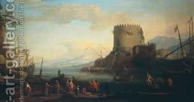 Seascape with the tomb of Cecelia Metella by Adrien Manglard - Reproduction Oil Painting