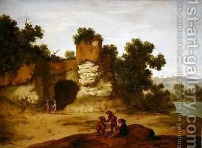 A rocky landscape with travellers resting by Jacobus Sibrandi Mancadan - Reproduction Oil Painting