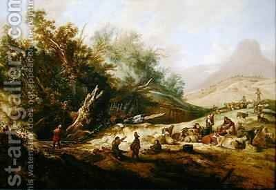Hilly landscape with shepherds and their herd near a stream by Jacobus Sibrandi Mancadan - Reproduction Oil Painting