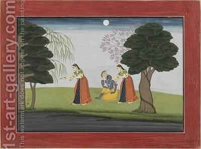 Krishna Vanishes from His Favourite by (attr. to) Manaku, The Family of - Reproduction Oil Painting