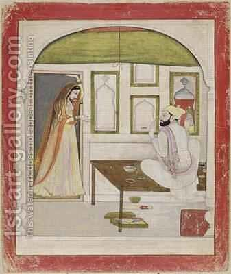 Woman and a Painter 1795 by (attr. to) Manaku, Son of - Reproduction Oil Painting