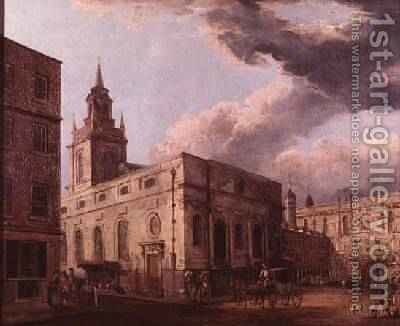 St Lawrence Jewry and the Guildhall by (after) Malton, Thomas - Reproduction Oil Painting