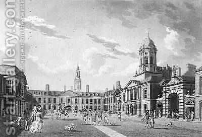 The Great Court Yard Dublin Castle 1792 by James Malton - Reproduction Oil Painting