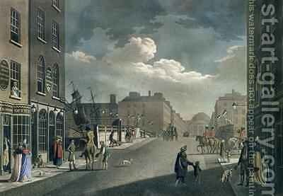 View from Capel Street looking over Essex Bridge Dublin from A set of twenty views of Dublin 1797 by James Malton - Reproduction Oil Painting