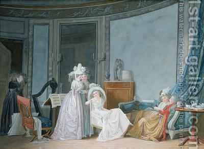 Meeting in a Salon 1790 by Jean-Baptiste Mallet - Reproduction Oil Painting