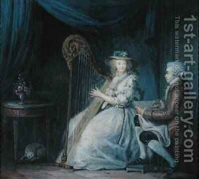 The Beautiful Harpist by Jean-Baptiste Mallet - Reproduction Oil Painting