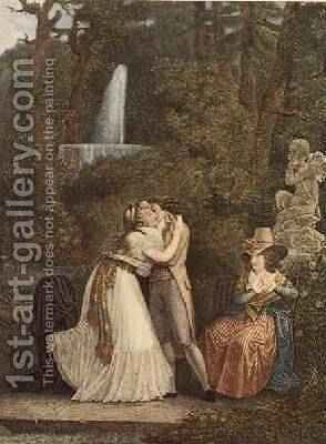 Julie or the First Kiss of Love by Jean-Baptiste Mallet - Reproduction Oil Painting