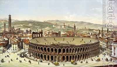 View of the Roman Amphitheatre Verona by (after) Majocchi, P. - Reproduction Oil Painting