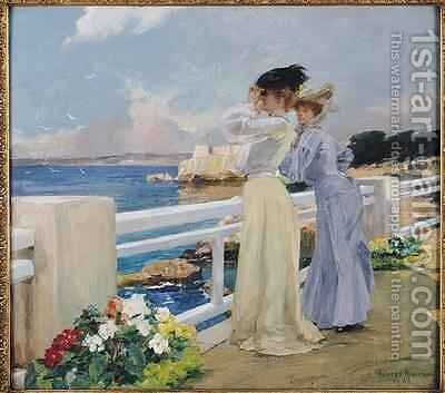The Seagulls 1906 by Albert Pierre Rene Maignan - Reproduction Oil Painting