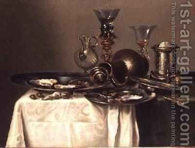 Still Life with a Plate of Oysters by Cornelis Mahu - Reproduction Oil Painting