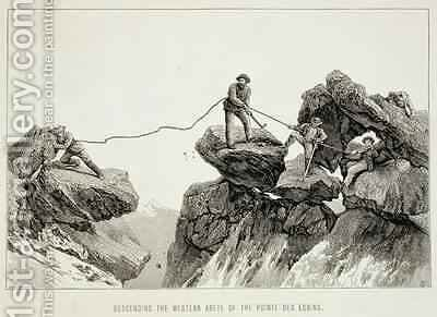 Descending the Western Arete of the Pointe des Ecrins from The Ascent of the Matterhorn engraved by Edward Whymper 1840-1911 by (after) Mahoney, James - Reproduction Oil Painting