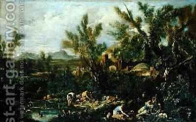 Landscape with Crockery Washers by Alessandro Magnasco - Reproduction Oil Painting