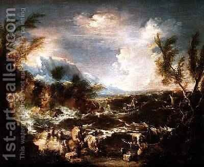 Rocky Coast in a storm with hermit monks receiving stores by Alessandro Magnasco - Reproduction Oil Painting